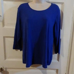 JM Collection Long Sleeve Blue Top L